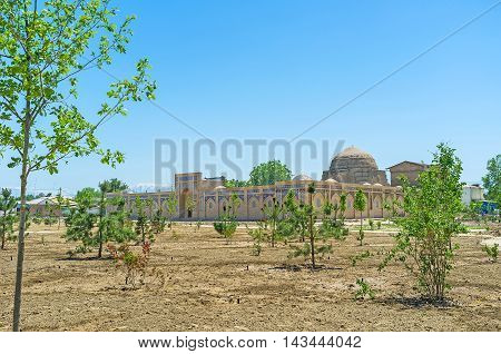 The restored Chorsu trading dome in the old town adjacent to the main landmarks Shakhrisabz Uzbekistan.