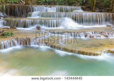 Natural waterfalls in deep forest national park of Thailand