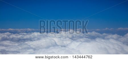 Beautiful aerial view of white clouds and blue sky