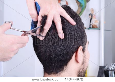 Close up of young man having a haircut with scissors.