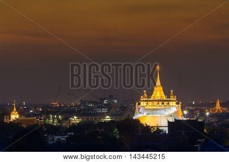 Golden Mount Temple the most travel Landmark of Bangkok Thailand after sunset