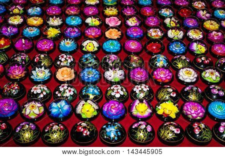 handicraft soap carved into the shape of flowers
