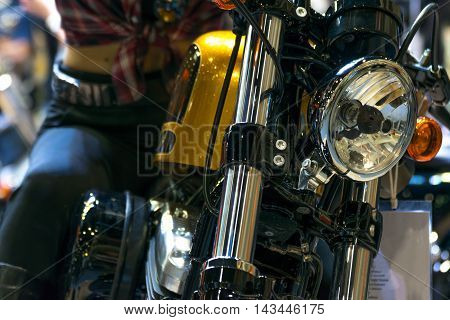 Some Parts Of The Motorcycle In Car Show Event