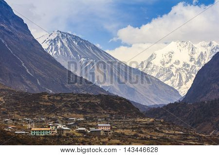 Langtang village Valley and scenery of himalaya mountain range one of the popular trekking route in Nepal