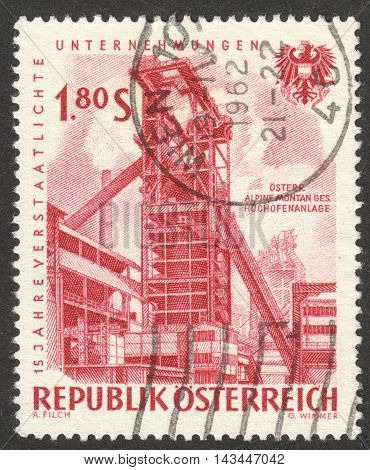 MOSCOW RUSSIA - CIRCA JULY 2016: a post stamp printed in AUSTRIA shows Blast furnaces Austrian Alpine Montane Corporation the series
