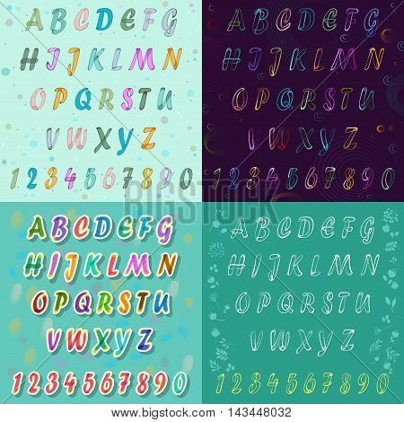 Watercolor and drawing artistic font. Unusual alhfabet with watercolour and drawing effects. Colorful space font. Vector illustration.