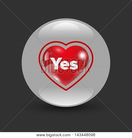 Dating heart bagde Yes on a black background