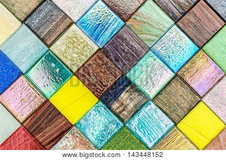 Glass Colorful Tiles Mosaic Diagonal Pattern Background