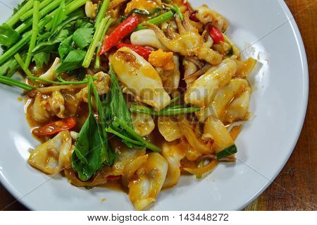 stir-fried squid with salt egg on dish