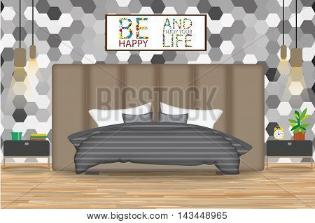 Loft Style Interior Design Vector Illustration.Bed in Front of Wall with Wallpaper. Side Tables, Chandeliers, Artwork.Cartoon Bedroom with Parquet Floor.Bedroom Elevation.Bedding and Bed room Furniture.