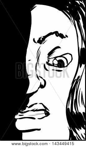 Outline Of Woman With Clenched Teeth