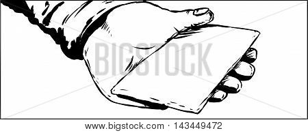 Outline Of Palm Holding Blank Envelope