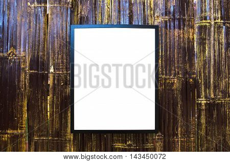 picture frame on the old bamboo wall