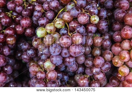 Group of fresh red grape in the market,Thailand