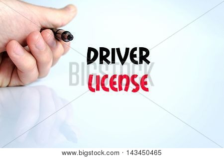 Driver license text concept isolated over white background