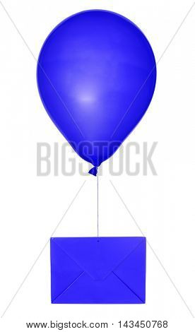 blue envelope and balloon isolated on white background