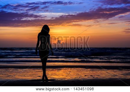 Silhouette Young Woman