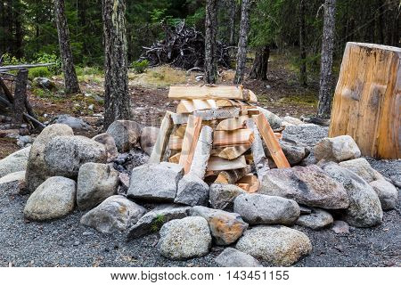 Firewood arranged to be ready for campfire