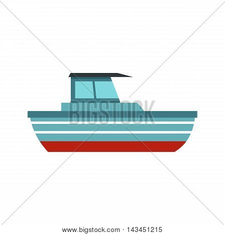 Blue motorboat icon in flat style isolated on white background. Sea transport symbol