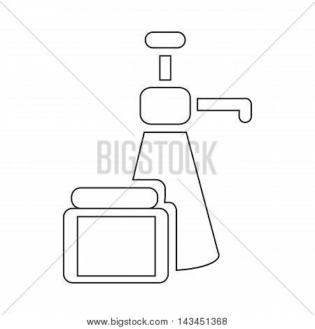 Body care products icon in outline style isolated on white background