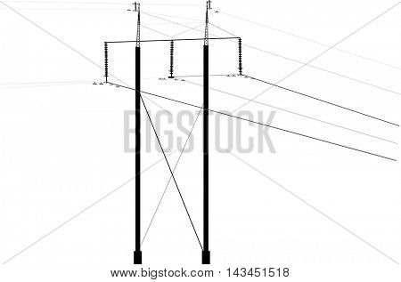 illustration with electric pylon isolated on white background