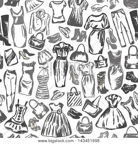 Clothing for women is seamless black and white drawing by hand