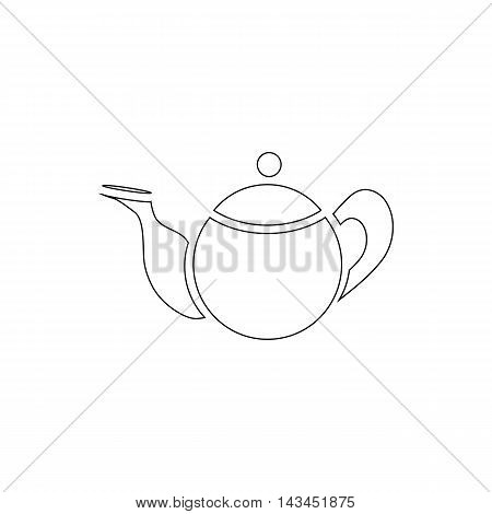 Tea pot icon in outline style isolated on white background