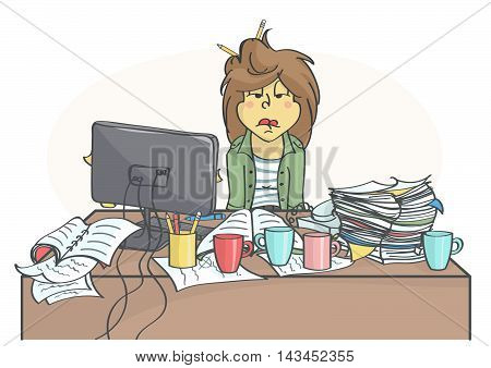 Exhausted, overworked business woman or a clerk sitting at messy office table, all in stress. vector