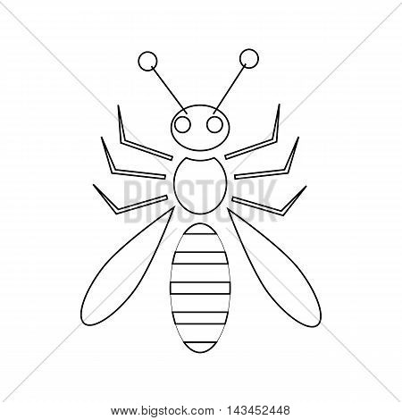 Honey bee icon in outline style isolated on white background