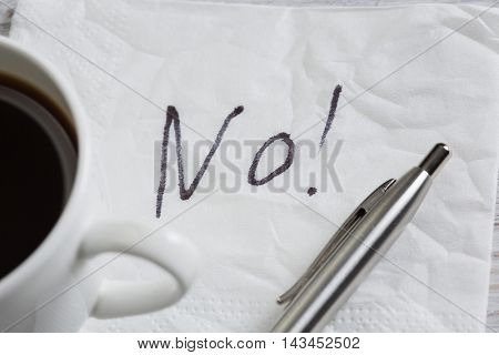 Word NO on napkin