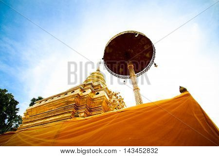 Golden Pagoda at Wat Phra That Sri Chom Thong, Chiangmai Province, Thailand.