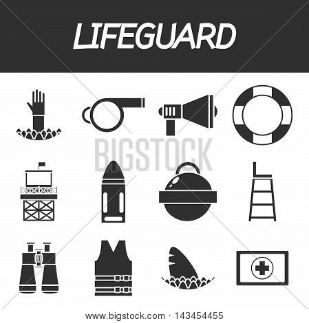 Lifeguard icons set with water rescue symbols isolated vector illustration