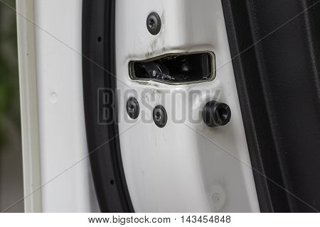latch car door on close-up image - can use to display or montage on product or website about car repair or car service or locksimth service about car
