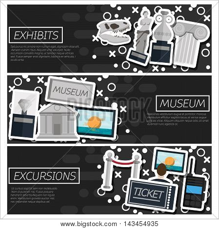 Set of Horizontal Banners about museum. Vector illustration, EPS 10