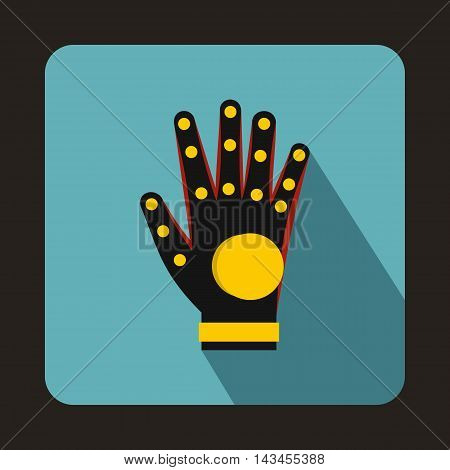 Electronic glove icon in flat style with long shadow. Technology and test symbol