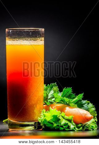 Carrot Smoothie Over Black