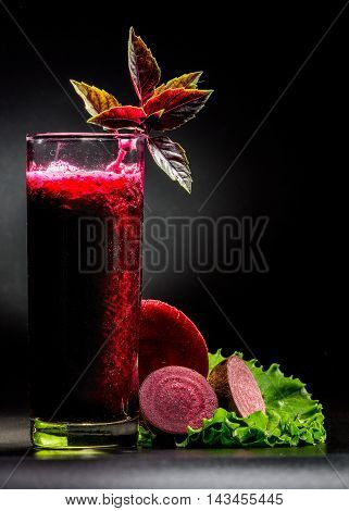 Beetroot Smoothie Over Black