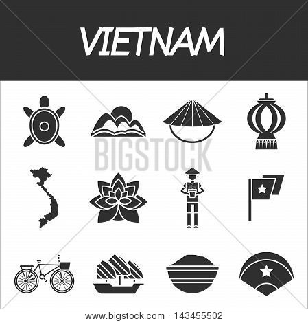 Vietnam travel set with palace food and map flat isolated vector illustration