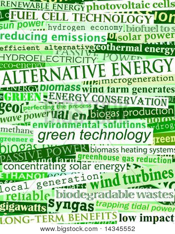 Background editable vector illustration of green headlines about alternative energy