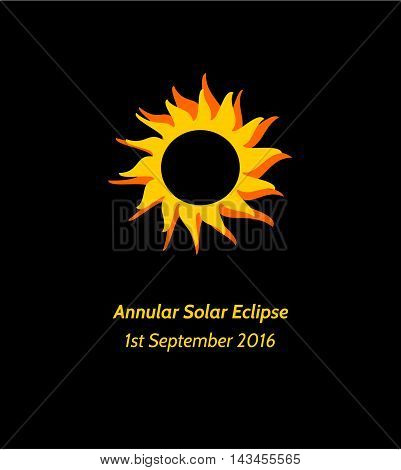 Postcard or banner with simple stylized illustration and inscription Annular Solar Eclipse 1st September 2016 in yellow orange and black colors.