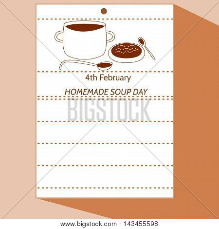 4th February - Homemade Soup Day - simple stylized cartoon drawing of calendar letter with pot, ladle, plate, spoon, soup. In amiably brown hue.