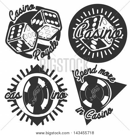 Vintage emblems, labels. Casino icons. Video game joystick and playing card with dice symbols. Entertainment signs. Design elements. Vector