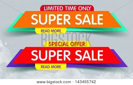 Super Sale Banner Design. You Can use for Super Sale promotion. Advertising shopping flyers discount banners.