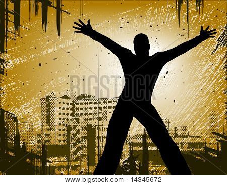 Editable vector design of a man in a city with grunge