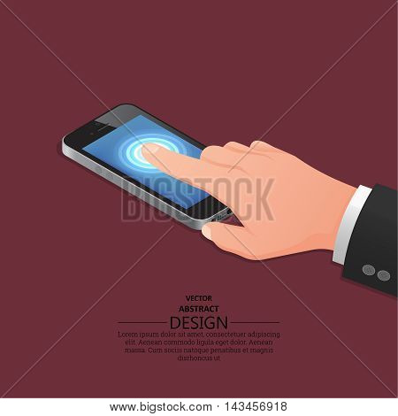 Hand finger on the touch screen of phone. A vectorial illustration in isometric 3D style.