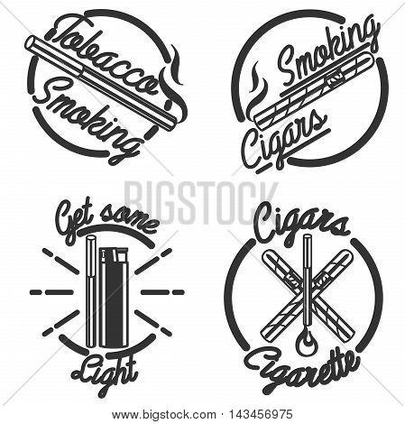 Set of vintage smoking tobacco elements. Monochrome style. Isolated on white background.