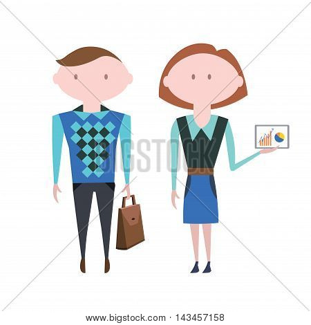 Business People. Man and Womam Character. Vector Illustration