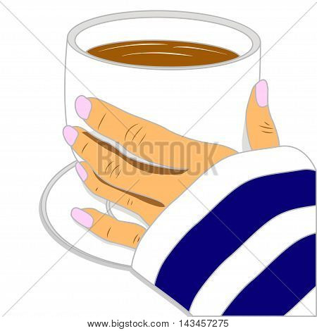Hand holding cup of hot coffee. Vector