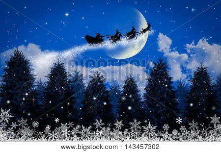 Santa Claus on sleigh by reindeer crossing moon. Suitable for Christmas background, Christmas backdrop,Christmas wall paper Christmas with text and everything about Christmas background for your design.