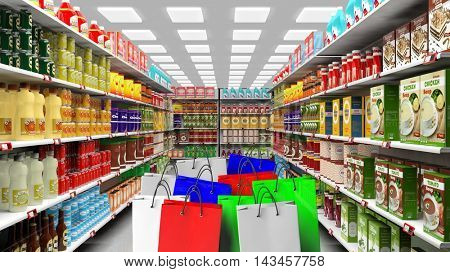 3D rendering of variety of food on shelves with colorful shopping bag on foreground